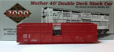 proto 21382 | H0 Mather 40' Double Deck Stock Car CB&Q